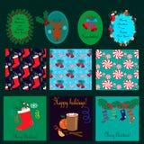 Kartki bożonarodzeniowa, bezszwowi wzory inkasowi Obraz Stock