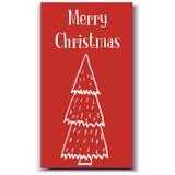 Kartki bożonarodzeniowa ręka rysujący drzewo Obraz Royalty Free