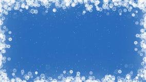 Kartki Bożonarodzeniowa rama z płatkami śniegu na Błękitnym tle royalty ilustracja