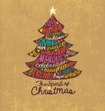Kartki Bożonarodzeniowa słowa chmury drzewny projekt royalty ilustracja