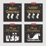 Kartki bożonarodzeniowa ustawiać Obrazy Royalty Free