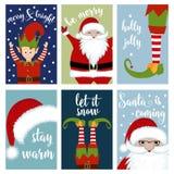 Kartki bożonarodzeniowej kolekcja z Santa i elfami royalty ilustracja