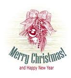 Kartki bożonarodzeniowej nakreślenia wektorowe retro stylowe rysować piłki one kłaniają się zdjęcie stock