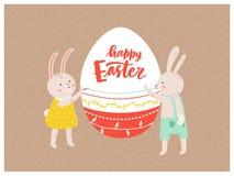 Kartki z pozdrowieniami lub pocztówki szablon z parą dekoruje gigantycznego jajko i Szczęśliwego Wielkanocnego życzenie royalty ilustracja
