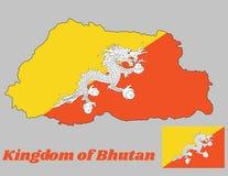 Kartlägga översikten och flaggan av Bhutan, triangelguling och apelsinen, med en vit drake som rymmer fyra juvlar i dess jordluck royaltyfri illustrationer