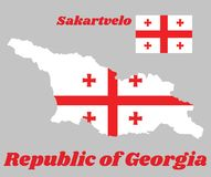Kartlägga översikten och flaggan av Georgia, den vita rektangeln, med ett stort Röda korset I de fyra hörnen finns det fyra Bolnu stock illustrationer