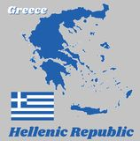 Kartlägga översikten och flaggan av Grekland, nio horisontalband, i sin tur blått och vit; ett vitt kors på ett blått fyrkantigt  royaltyfri illustrationer