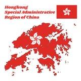 Kartlägga översikten och flaggan av Hong Kong, stiliserat, vit, blomma för fem-kronblad Bauhiniablakeana i mitten av ett rött fäl royaltyfri illustrationer