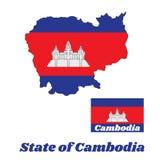 Kartlägga översikten och flaggan av kambodjan i blå röd och vit färg med den svarta linjen av Angkor Wat stock illustrationer
