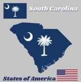 Kartlägga översikten och flaggan av South Carolina, det vita palmettoträdet på ett indigoblått fält Kantonen innehåller ett vitt  royaltyfri bild
