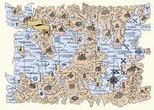 Kartlägga av fantasivärlden Arkivfoton