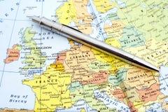 Kartlägga av västra Europa royaltyfria bilder