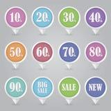 Kartlägga bensymboler SALE stock illustrationer