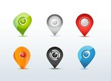 Kartlägga illustrationen för uppsättningen för GPS-kommunikationssymbolen stock illustrationer