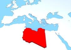 Kartlägga lyftta Libyen, rött, 3d, africa, Europa Royaltyfria Bilder