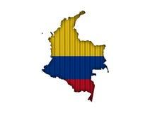 Kartlägga och flaggan av Colombia på korrugerat järn Royaltyfri Fotografi