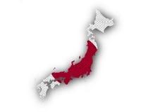 Kartlägga och flaggan av Japan på gammal linne Fotografering för Bildbyråer