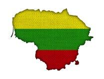 Kartlägga och flaggan av Litauen på gammal linne Fotografering för Bildbyråer