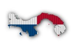 Kartlägga och flaggan av Panama på korrugerat järn Arkivfoto