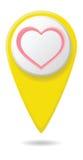 Kartlägga pekaren med hjärtateckensymboler, illustration Sänka designstil Royaltyfri Bild