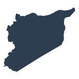 Kartlägga Syrien geografiskt politiskt på en vit bakgrundscloseup royaltyfri illustrationer
