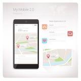 Kartlägger app på smartphonen Arkivbild