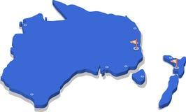 kartlägger den isometriska sikten 3d av Australien och nytt Zealand vektorn Arkivbilder