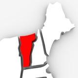 Kartlägger den statliga Vermont röda abstrakt begrepp 3D United States Amerika Arkivfoton