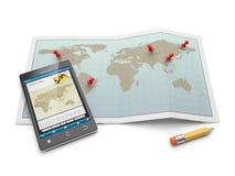 Kartlägger, och navigations- kartlägger. Fotografering för Bildbyråer