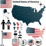 Kartlägga av USA Arkivbild