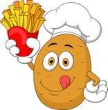 Kartoffel-Chefkarikatur Halten Pommes-Frites Stockfoto