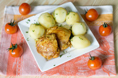 Kartoffel mit Huhn Stockfoto