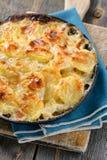Kartoffel mit Sahne gebacken und Käse Stockfotografie