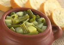 Kartoffel und grüne Bohne Hotpot Stockfoto