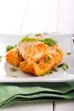 Kartoffel- und Karottenkroketten Stockfotos