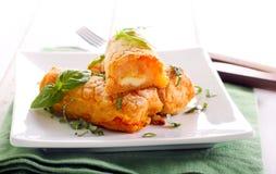 Kartoffel- und Karottenkroketten Stockfoto