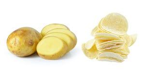 Kartoffel und Kartoffelchips Lizenzfreies Stockfoto