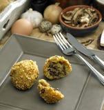 Kartoffel- und Pilzkugeln Stockfotos