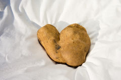 Kartoffelherz auf weißem Gewebe Stockfotografie
