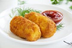 Kartoffelkroketten Lizenzfreie Stockfotos