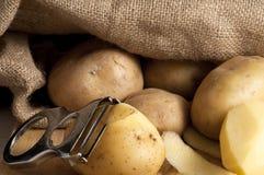 Kartoffeln, die aus dem Jutefaser heraus sind stockbilder