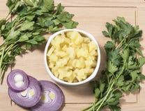 Kartoffeln gekocht und gehackt Lizenzfreie Stockbilder