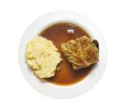 Kartoffeln gestampft und Kohlrollen, lokalisiert Lizenzfreies Stockfoto