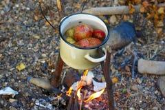 Kartoffeln kochten in einem Topf auf dem Feuer Stockfotos