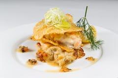 Kartoffeln mit Fleischsoße Stockfotografie