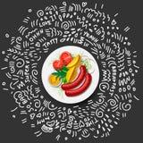 Kartoffeln mit Gemüse und Wurst auf der Platten-Ikone, lokalisiert auf schwarzem Hintergrund Gegrillte Würste, Frischgemüse stock abbildung