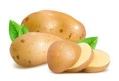 Kartoffeln mit Scheiben und Blättern Stockbild