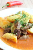 Kartoffeln und Fleisch mit Dill Stockfotografie