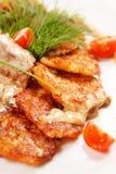 Kartoffelpfannkuchen mit Fleisch lizenzfreies stockbild