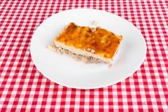 Kartoflany kulebiak na białym talerzu zdjęcie royalty free
